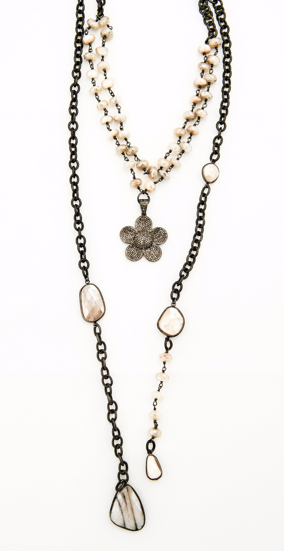Diamond Flower Charm with Pink moonstone on  rhodium  plated chain