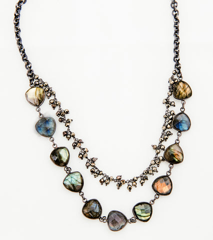 Short Labradorite  necklace with double Pyrite Chain