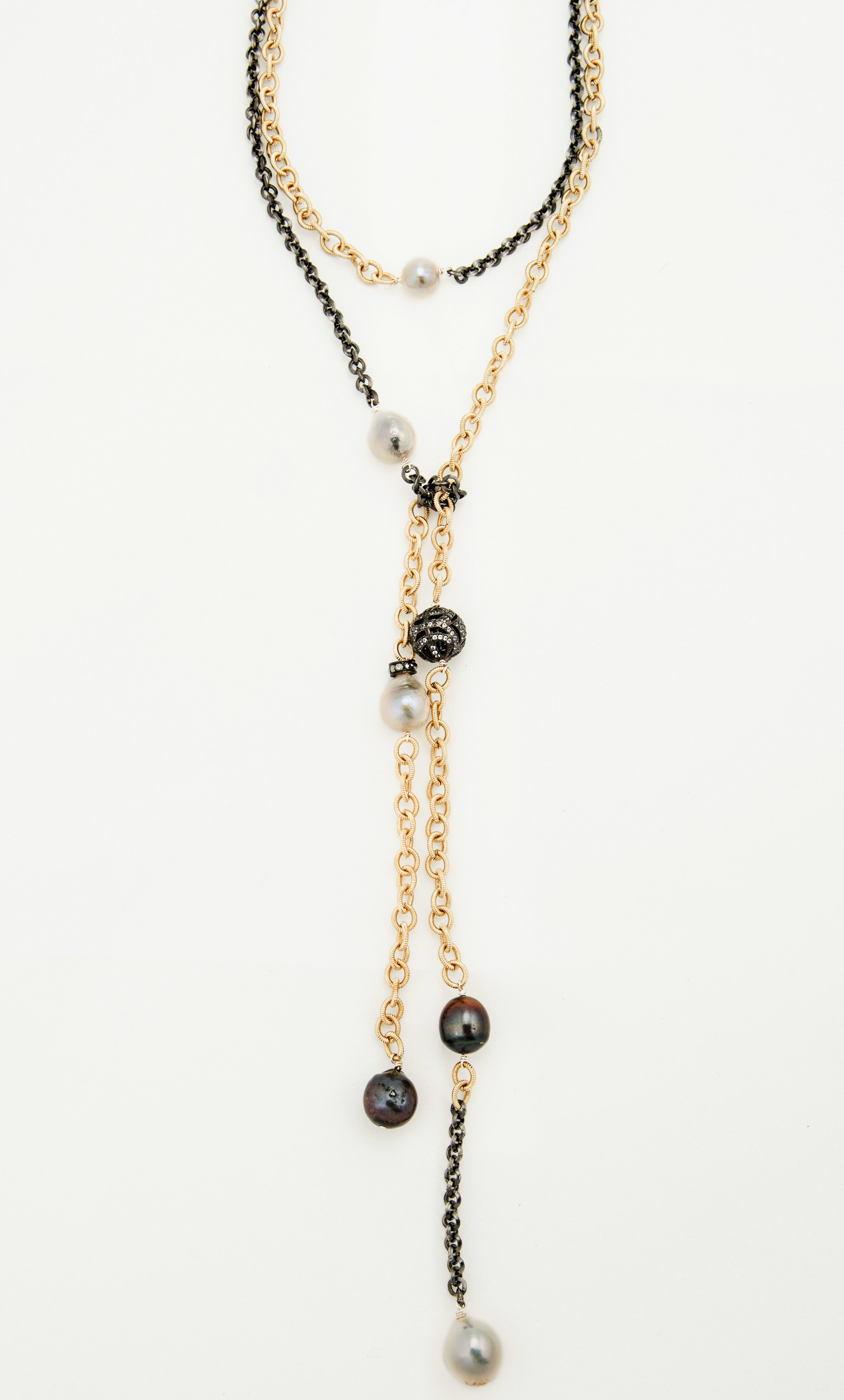 Mixed Metal Lariat with Black and White Fresh Water Pearls