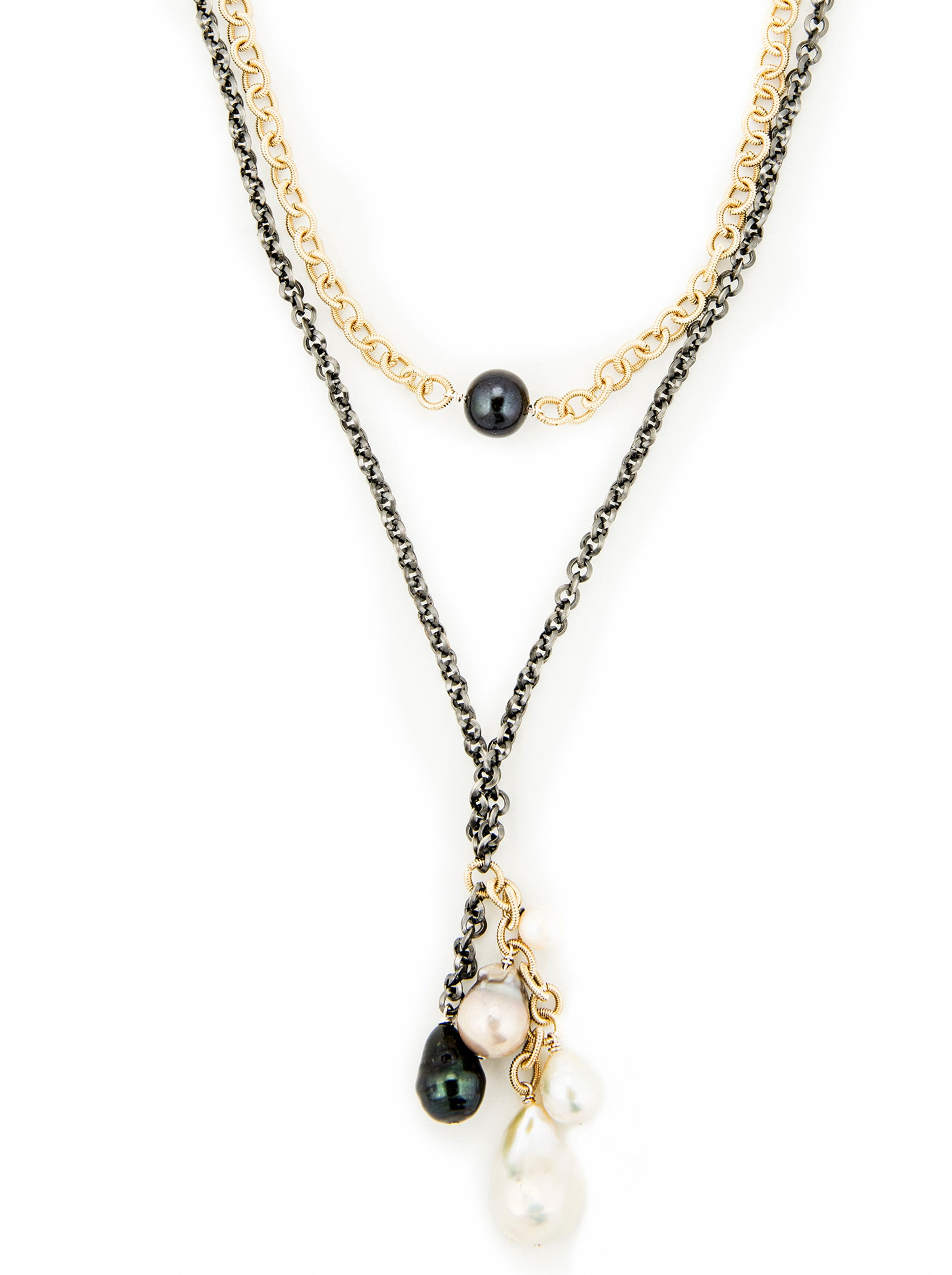 Mixed Metal with Black and White Fresh Water Pearls