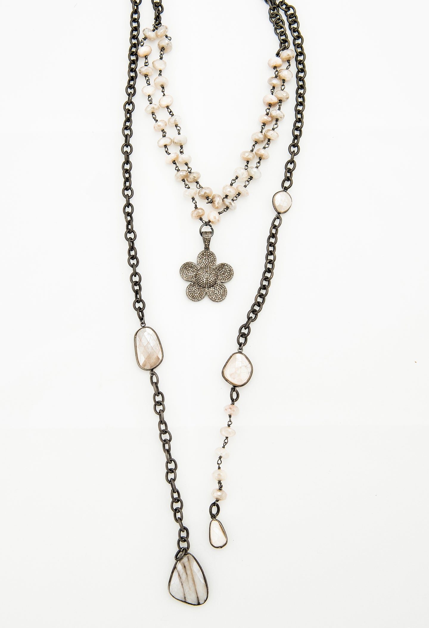 Pink moonstone lariat with diamond flower