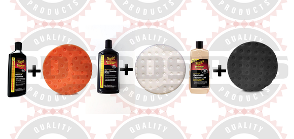 Meguiar's M105 Compound, 8 oz, M205 Polish, 8 oz & M21 Sealant 16 oz + Pads