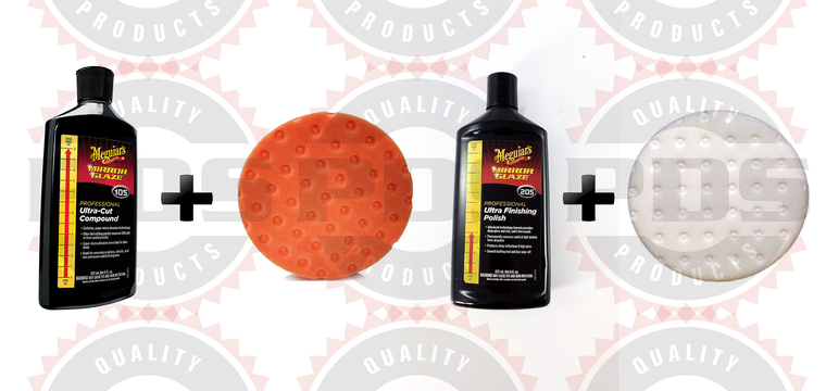 Meguiar's M105 Compound, 8 oz & M205 Polish, 8 oz + Pads