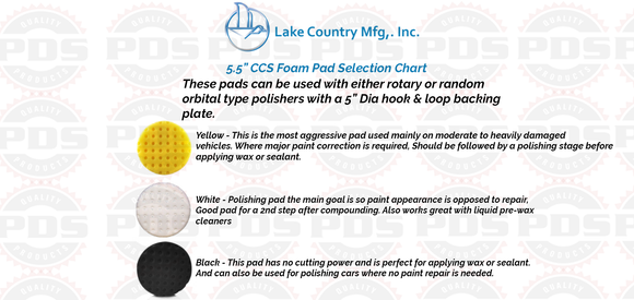 Lake Country CCS Polishing Pad, White - 5.5 inch