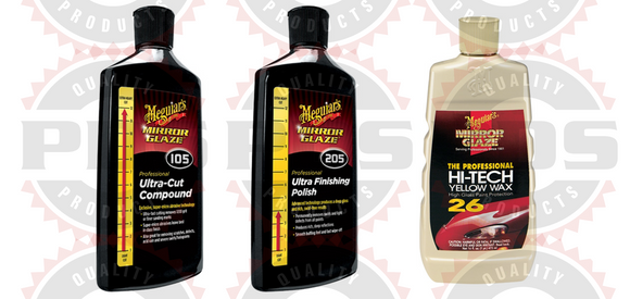 Meguiar's M105 Compound, 8 oz, M205 Polish, 8 oz & M26 Hi Tech Yellow Wax 16 oz