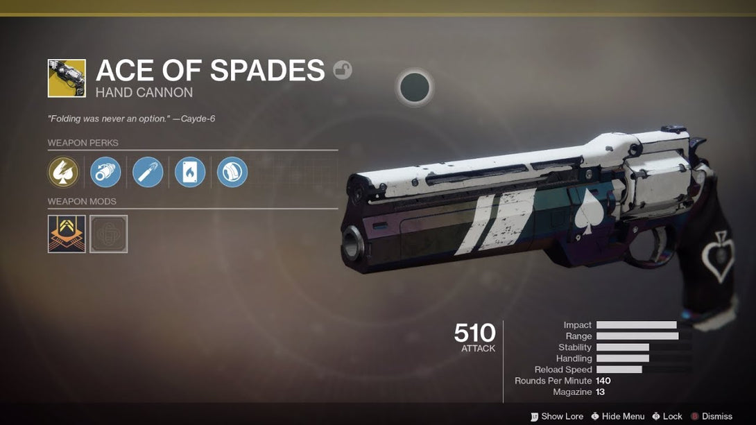 Ace of Spades Exotic Quest (Cayde's Will)
