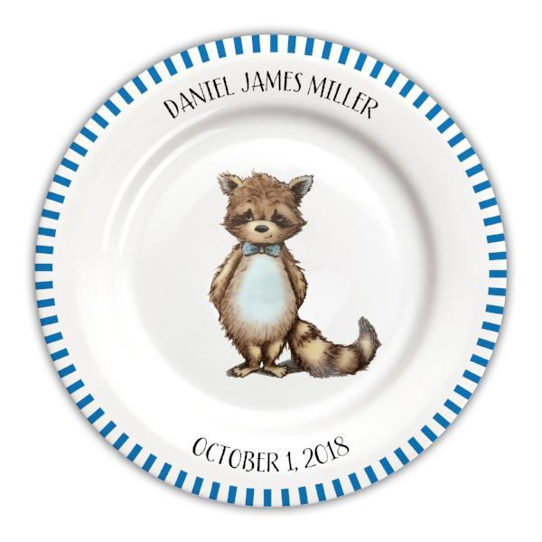 Personalized Baby Plate | Raccoon