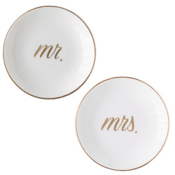 Mr. and Mrs. Ring Dishes | Gold