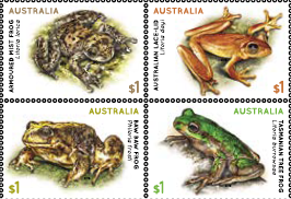 Australia: Frogs 2018 Set of Gummed Stamps