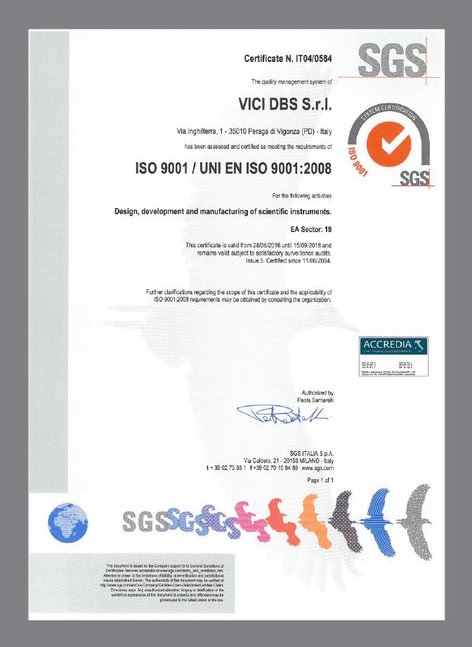 VICI DBS ISO certificate