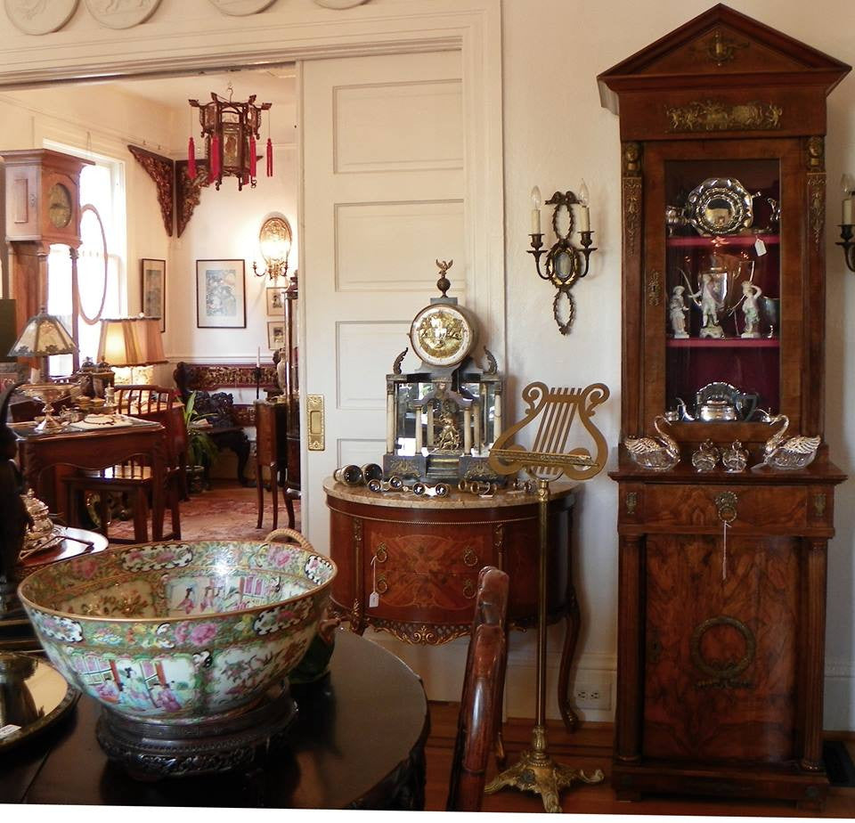 Seattle antique store Chinese porcelain, French furniture, antique clocks, lighting