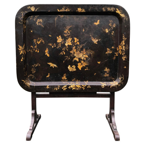 English Regency Style Gilt Papier Mache Black Lacquer Tray Table, Stand