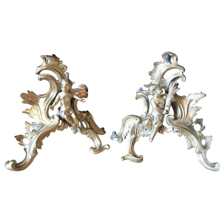 fireplace chenets French ormolu cherubs