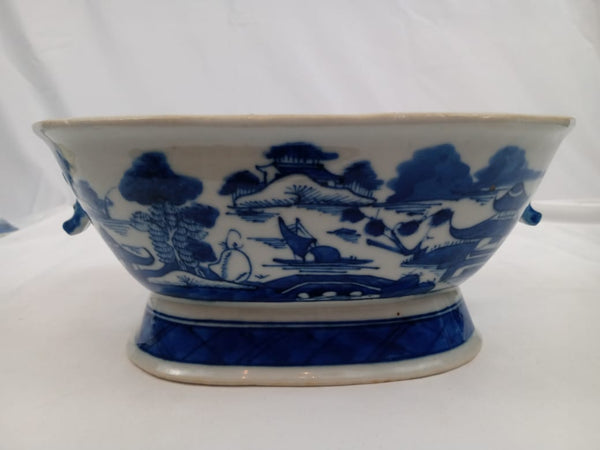 19th Century Blue and White Chinese Canton Porcelain Covered Tureen.