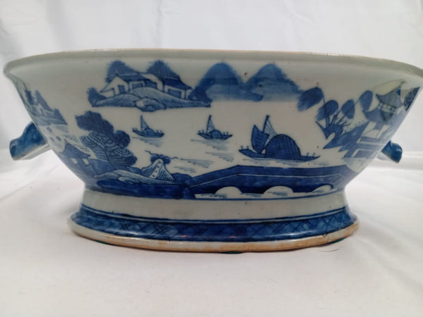 19th Century Chinese Canton Porcelain Oval Bowl with Pig Handles.
