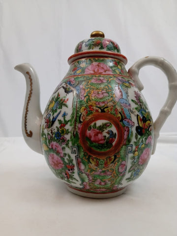 19th Century Chinese Rose Canton Teapot.