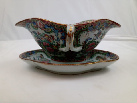 19th Century Chinese Rose Canton Double sided Gravy Boat with Underplate.