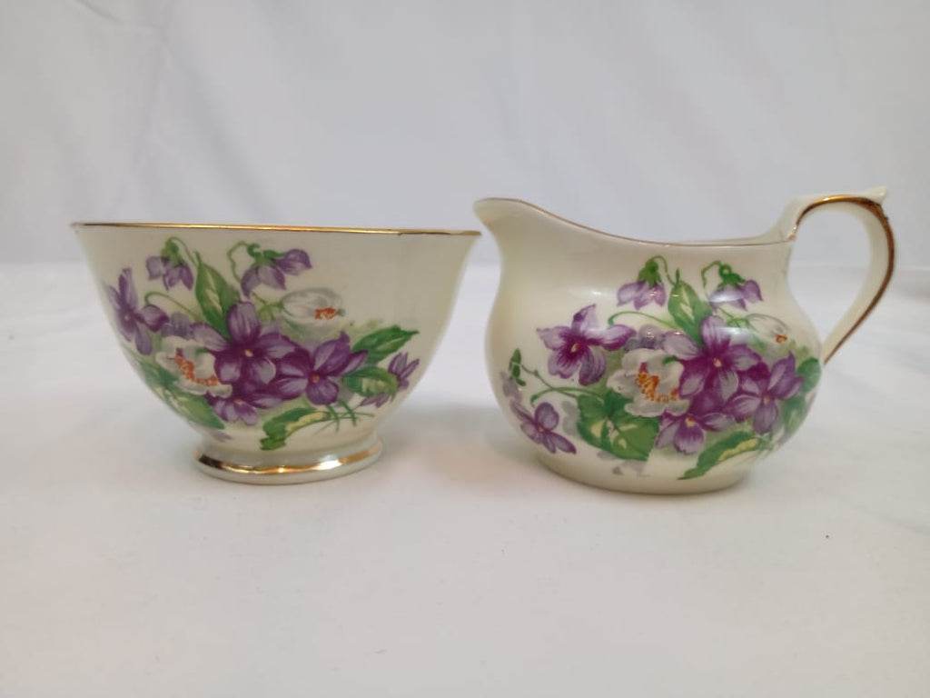 "English Sutherland ""Devon Violet"" Creamer and Sugar Set."