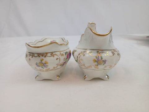 Dresden Sprays England Sugar and Creamer Set with Floral Design.