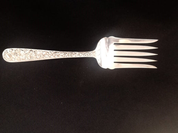 S.Kirk and Son Co. Repousse Sterling Silver Salad Serving Fork.