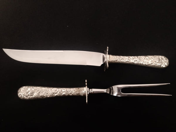 Kirk Repousse Sterling Silver Steak Carving Set.