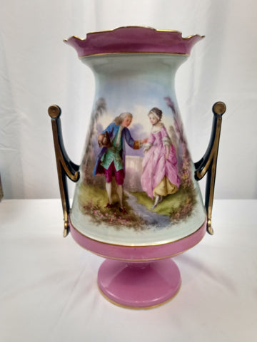 Large French Porcelain Vase with Gilding Sevres Style