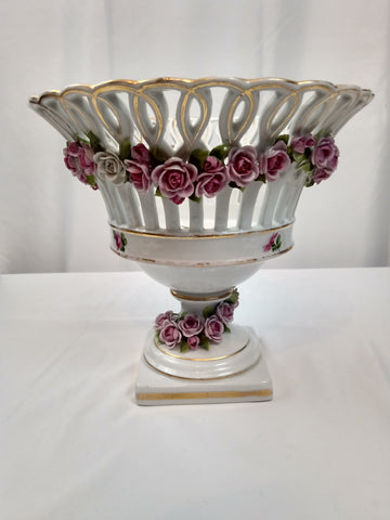 19th Century German Porcelain Center Piece Basket with Roses and Leaves.