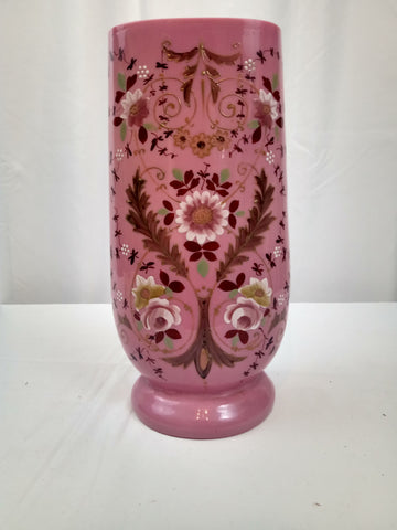 19th Century Pink Cased Bohemian Art Glass Vase with Enamled Flowers and Leaves.