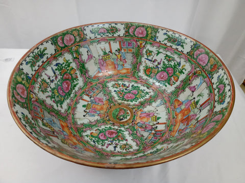 20th Century Qing Dynasty Chinese Rose Medallion Porcelain Bowl.