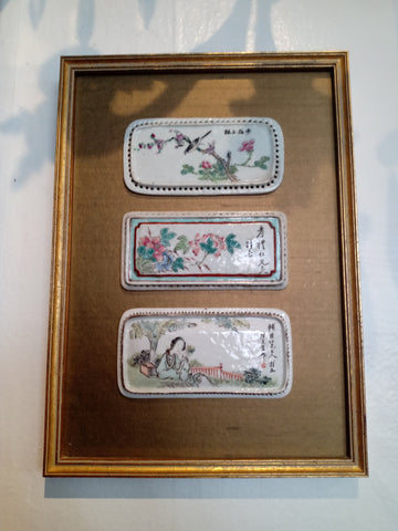 Framed Chinese Porcelain Plaques, Late Qing Dynasty.