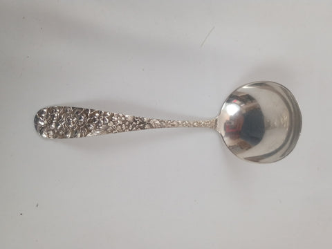 20th Century Stieff Sterling Silver Repousse Rose Cream Ladle.