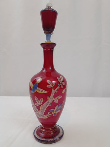 18th Century Art Glass Perfume Bottle with Stopper with Bird and Flower Motif.