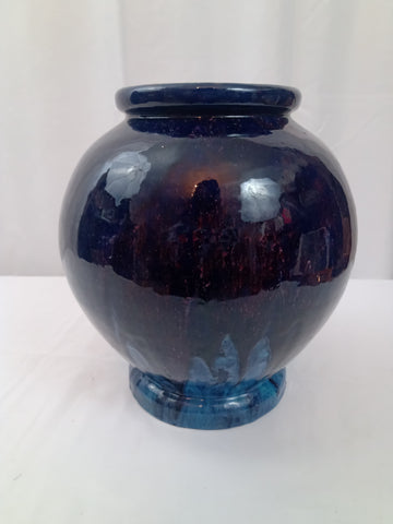 20th Century European Blue Flambe Vase with Incised Mark.