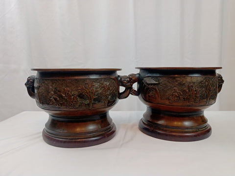 19th Century Meiji Period Japanese Pair of bronze Planters Attached to Wood Bottoms.