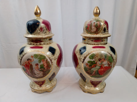 19th Century Austrian Royal Vienna Lidded Urns with Classical Scenes.