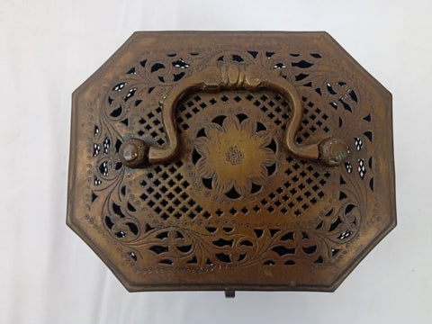 19th Century Qing Chinese Hand Warmer with Pierced Brass and Flower Motif.