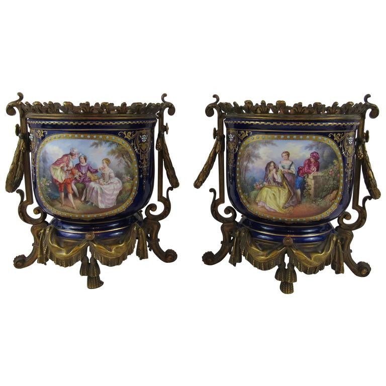 Pair of Enamel on Copper Jardinieres in Bronze Doré, European 19th Century
