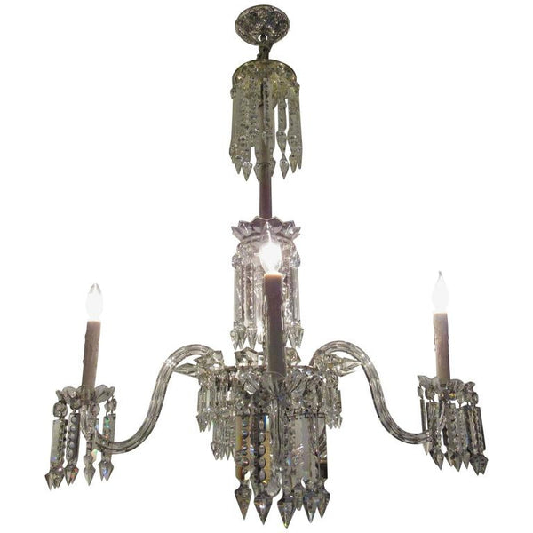 Large European Four-Light Crystal Chandelier, Early 20th Century