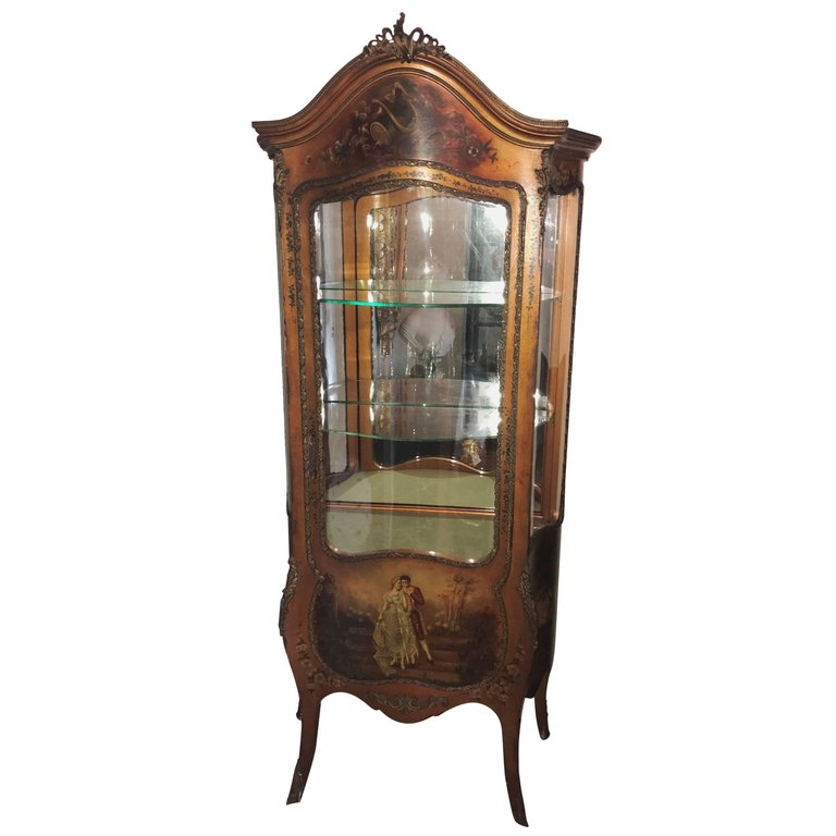 French Vitrine Cabinet. Painted Scene of Lovers. Ormolu. Circa 1910