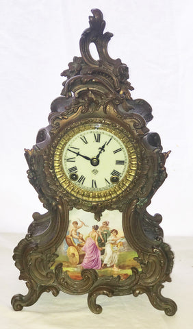 "French Mantle Clock. Ansonia Clock Co. Limoges Porcelain Plaque. 14 1/2"" height"