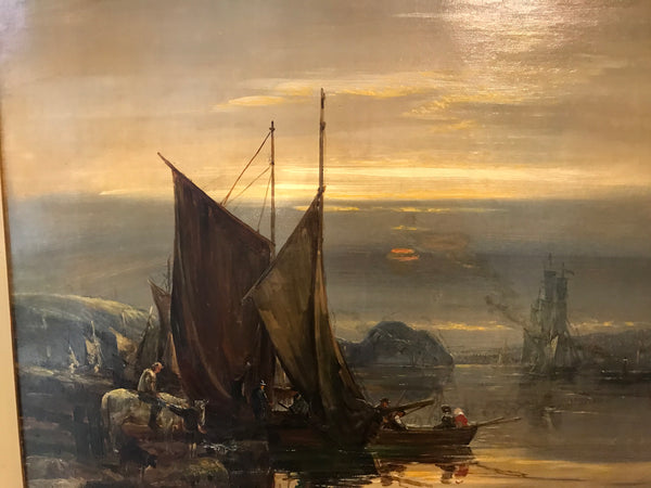 "Samuel Bough (1822-1878) Scottish Original Oil Painting on Canvas ""On the Clyde"""