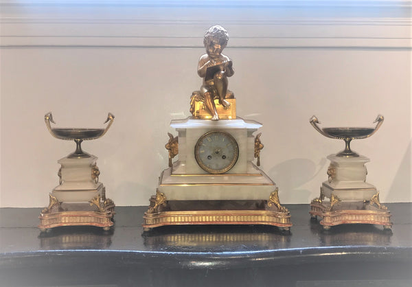 French clock set. Onyx and ormolu. Dasson & Godeau Paris. Late 19th century