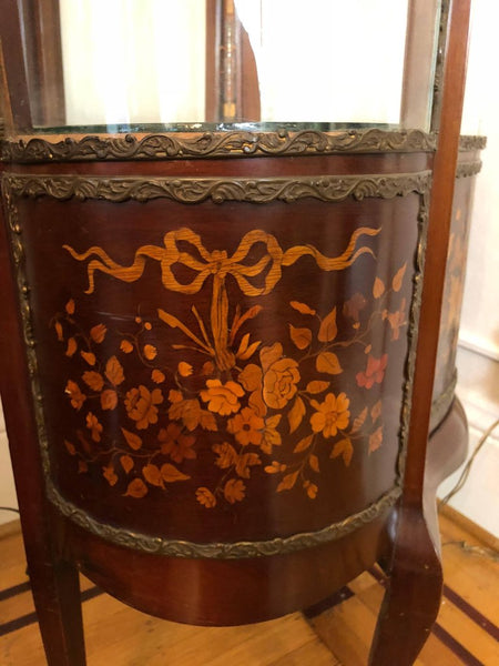 Continental Floral Inlaid Vitrine, Displayed Cabinet, Early 20th Century, Lit