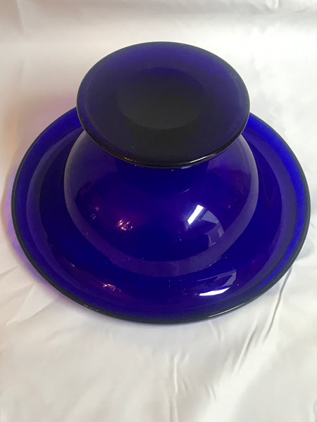 Hand Blown Glass Cobalt Blue Bowl Compote with Rolled Edge. Early 19th century