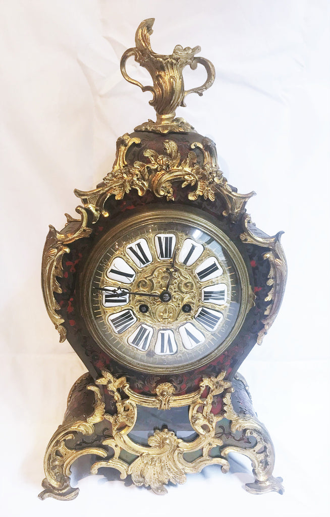French Mantle Clock Boulle-Style Inlaid Brass. Chimes. Sun King Pendulum. 19th C