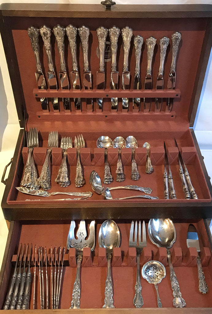 Sterling Silver Flatware Service. Gorham Buttercup Pattern Service for 8, 92 pcs