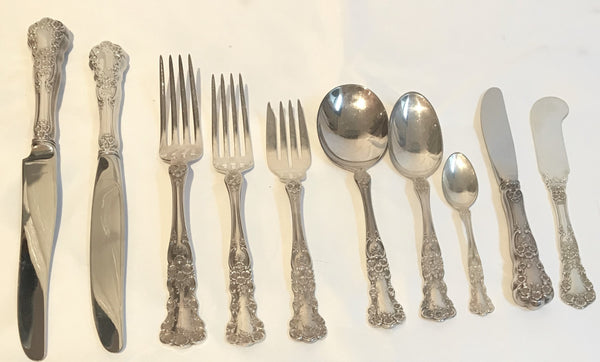 Sterling Silver Flatware Service. Gorham Buttercup Pattern Service for 8, 91 pcs