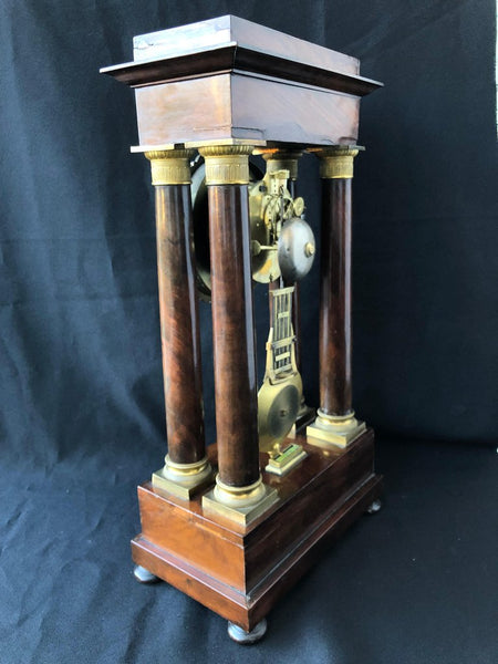 Antique French Empire Portico Clock circa 1820, Charles X, Mahogany and Bronze