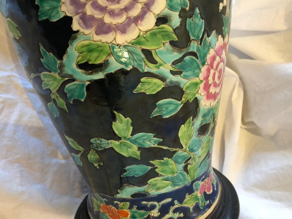 Asian Porcelain Vase Table Lamp, Black Ground, Phoenix. 20th Century