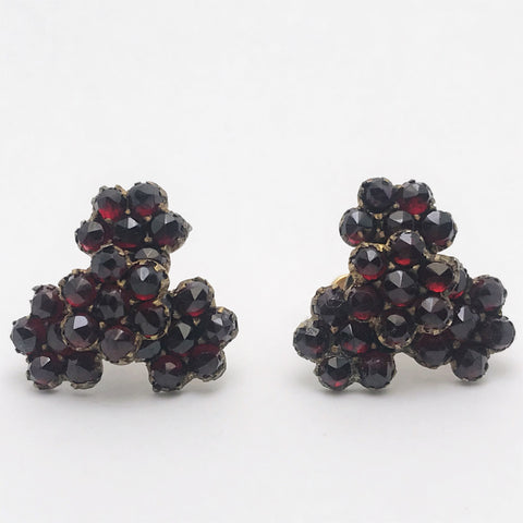 Pair of Vintage Bohemian Garnet Earrings. Screw-Back.